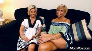 Two sexy blonde cougars in threesome (12 pics)