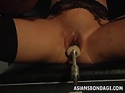 Picture Busty brunette getting her wet pussy machine...