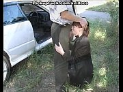 Redhead fucked in the mouth on side