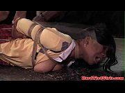 Ebony bdsm sub tied and toyed by maledom