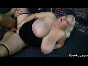 Blonde with gigantic tits strips and gets fucked