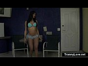 Busty bubblebutt tranny gags and deepthroats black dick then takes it doggy