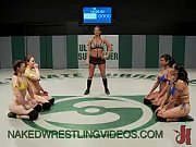 Four babes wrestle and ...