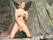 1203376 Brunette with huge rack rides a wild electric toy 240p