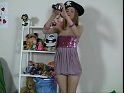 Picture Cute girl plays with sexy toys and bear