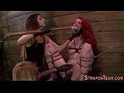 Bound bdsm slave strapon