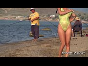 transparent swimsuit and nude on the beach – Porn Video