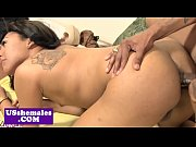 Bigbooty black tranny filled with hard cock