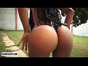 Bubblebutt tranny babe from Brazil fucks a guys ass outdoor