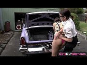 Picture Abducted lesbian gets licked on the car