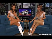 Two hot big tit 3D babes share a big cock