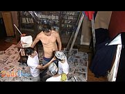 Painting boys enjoy group bumming with an ...