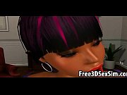 Lucky stud fucks two 3D ebony babes in the office