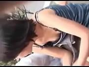 公園に座ってたお姉さんのブラとおっぱいを真上から盗撮