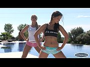 blonde and brunette babes exercise by the pool – Porn Video
