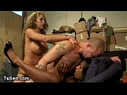 Picture Threesome bdsm action with two trannies in s...
