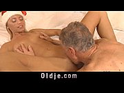 Picture Silly girl and old man gets down near the Christm...