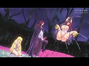 金髪&黒髪ロングヘアの爆乳姫騎士が触手で犯されながらレズセックス