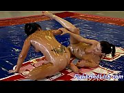 Oiled babes wrestle and enjoy lesbiansex