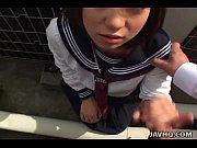 Japanese schoolgirl sucks cock