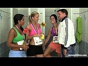 Sporty teens fucking coach in