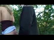 Picture Blonde babe does blowjob in the forest