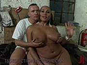Picture Busty black tranny fucks tied guy in his thr...