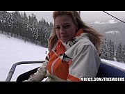 Busty blonde skier is paid to