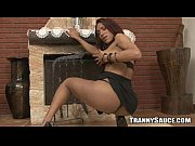 Foxy shemale babe stripping and tugging on her cock