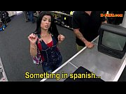 Huge tits Cuban chick fucked for her TV by pawnshop staff