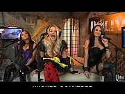 Picture Three horny sluts dress up in costumes for a...