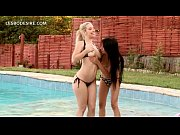 Picture Lesbo blonde licks GFs peachy snatch by the pool