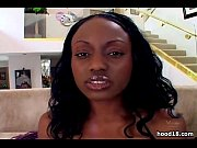 Busty ebony sucking 2 cocks all at once