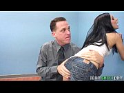 Raven haired teen gets her tight pierced  ...