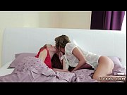 two slim brunette lesbians oral sex in bed