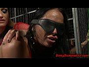 Blindfolded slave pissing and serving master