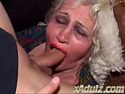 granny gets facefucked and gets a dirty foot in her old pussy