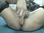 Shemale Fucking Herself with a Banana