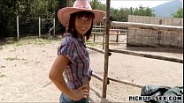 Cute cowgirl Tina Hot flashes her tits and banged for money