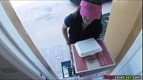 Kimber Woods delivers pizza and bangs customer for more tips porn videos