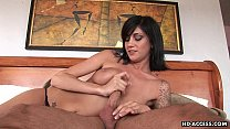 Gorgeous babe plays with a cock until it bursts...