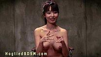 Brunette Asian nurse in hogtied
