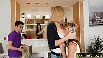 Blonde milf and teen stepdaughter 3way