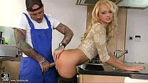 Desirable blonde housewife gets boned by tattoo... thumb