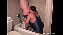 Pervy guy pissing in boyfriend's mouth while he...