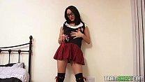 SoloInterviews Smalltits brunette Chloe Lovette strip schoolgirl uniform masturb porn videos