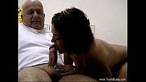 Busty MILF Massages Old Man