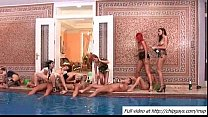 Crazy wild babes getting fucked by the pool