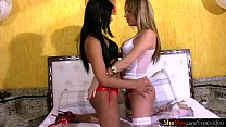 gi... ts her tongues lingerie while in babe Tranny