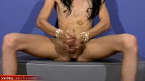 Super slim Latina TS with big lips exposes mass...